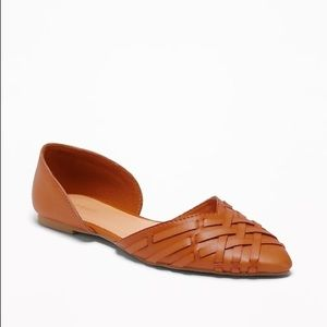 NWT Braided Faux-Leather D'orsay Flat
